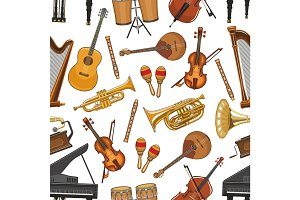 Vector musical instruments seamless pattern