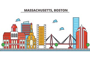 Massachusetts, Boston.City skyline: architecture, buildings, streets, silhouette, landscape, panorama, landmarks, icons. Editable strokes. Flat design line vector illustration concept.