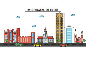 Michigan, Detroit.City skyline: architecture, buildings, streets, silhouette, landscape, panorama, landmarks, icons. Editable strokes. Flat design line vector illustration concept.
