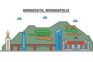 Minnesota, Minneapolis.City skyline: architecture, buildings, streets, silhouette, landscape, panorama, landmarks, icons. Editable strokes. Flat design line vector illustration concept.