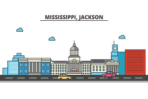 Mississippi, Jackson.City skyline: architecture, buildings, streets, silhouette, landscape, panorama, landmarks, icons. Editable strokes. Flat design line vector illustration concept.