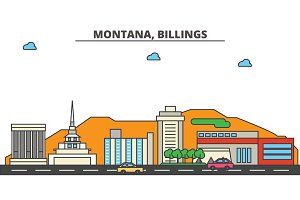 Montana, Billings.City skyline: architecture, buildings, streets, silhouette, landscape, panorama, landmarks, icons. Editable strokes. Flat design line vector illustration concept.
