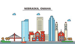 Nebraska, Omaha.City skyline: architecture, buildings, streets, silhouette, landscape, panorama, landmarks, icons. Editable strokes. Flat design line vector illustration concept.