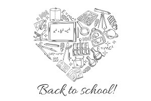 Back to School vector sketch heart poster