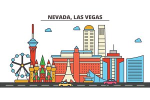 Nevada, Las Vegas.City skyline: architecture, buildings, streets, silhouette, landscape, panorama, landmarks, icons. Editable strokes. Flat design line vector illustration concept.