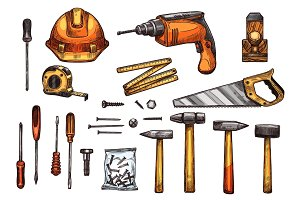 Vector sketch icons of work tools