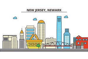 New Jersey, Newark.City skyline: architecture, buildings, streets, silhouette, landscape, panorama, landmarks, icons. Editable strokes. Flat design line vector illustration concept.