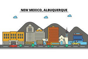 New Mexico, Albuquerque.City skyline: architecture, buildings, streets, silhouette, landscape, panorama, landmarks, icons. Editable strokes. Flat design line vector illustration concept.