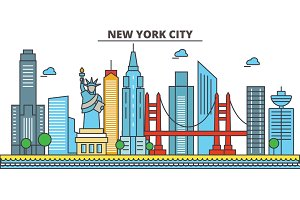 New York, New York City.City skyline: architecture, buildings, streets, silhouette, landscape, panorama, landmarks, icons. Editable strokes. Flat design line vector illustration concept.
