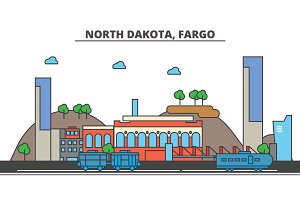 North Dakota, Fargo.City skyline: architecture, buildings, streets, silhouette, landscape, panorama, landmarks, icons. Editable strokes. Flat design line vector illustration concept.