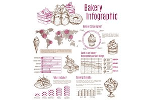 Vector infographics sketch for bakery desserts