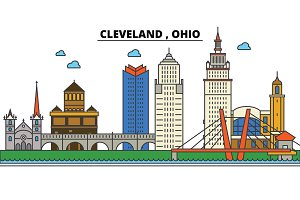 Ohio, Cleveland.City skyline: architecture, buildings, streets, silhouette, landscape, panorama, landmarks, icons. Editable strokes. Flat design line vector illustration concept.