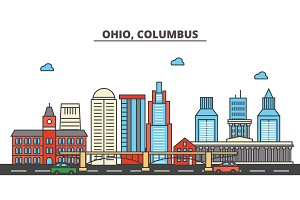 Ohio, Columbus.City skyline: architecture, buildings, streets, silhouette, landscape, panorama, landmarks, icons. Editable strokes. Flat design line vector illustration concept.