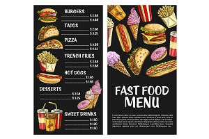 Fast food vector menu poster fastfood restaurant