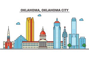 Oklahoma, Oklahoma City.City skyline: architecture, buildings, streets, silhouette, landscape, panorama, landmarks, icons. Editable strokes. Flat design line vector illustration concept.