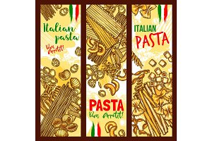 Pasta and Italian macaroni vector banners
