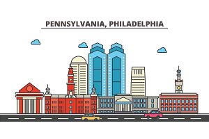 Pennsylvania, Philadelphia.City skyline: architecture, buildings, streets, silhouette, landscape, panorama, landmarks, icons. Editable strokes. Flat design line vector illustration concept.