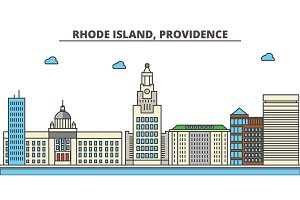Rhode Island, Providence.City skyline: architecture, buildings, streets, silhouette, landscape, panorama, landmarks, icons. Editable strokes. Flat design line vector illustration concept.