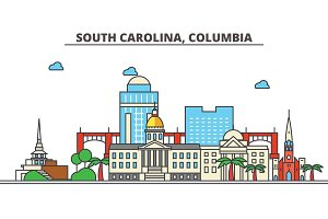 South Carolina, Columbia.City skyline: architecture, buildings, streets, silhouette, landscape, panorama, landmarks, icons. Editable strokes. Flat design line vector illustration concept.