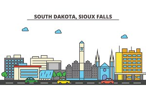 South Dakota, Sioux Falls.City skyline: architecture, buildings, streets, silhouette, landscape, panorama, landmarks, icons. Editable strokes. Flat design line vector illustration concept.