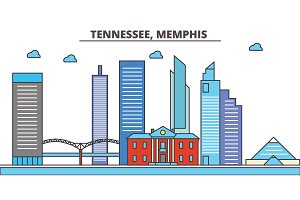 Tennessee, Memphis.City skyline: architecture, buildings, streets, silhouette, landscape, panorama, landmarks, icons. Editable strokes. Flat design line vector illustration concept.