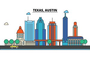 Texas, Austin.City skyline: architecture, buildings, streets, silhouette, landscape, panorama, landmarks, icons. Editable strokes. Flat design line vector illustration concept.