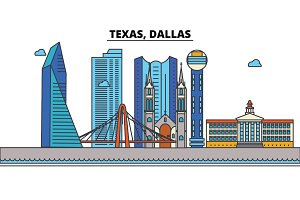 Texas, Dallas.City skyline: architecture, buildings, streets, silhouette, landscape, panorama, landmarks, icons. Editable strokes. Flat design line vector illustration concept.