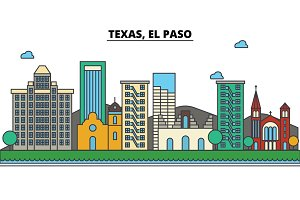 Texas, El Paso.City skyline: architecture, buildings, streets, silhouette, landscape, panorama, landmarks, icons. Editable strokes. Flat design line vector illustration concept.