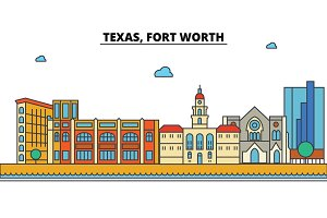 Texas, Fort Worth.City skyline: architecture, buildings, streets, silhouette, landscape, panorama, landmarks, icons. Editable strokes. Flat design line vector illustration concept.