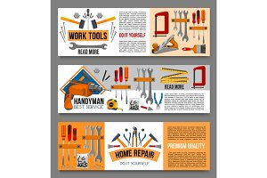Vector flat banenrs of home repair work tools