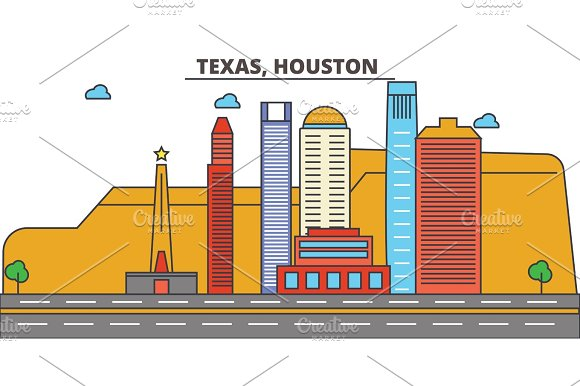 Texas, Houston.City skyline: architecture, buildings, streets, silhouette, landscape, panorama, landmarks, icons. Editable strokes. Flat design line vector illustration concept. in Illustrations