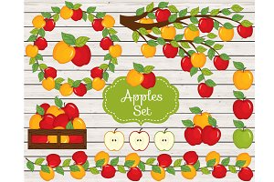 Vector Apples Set, Vector Harvest