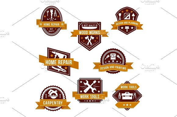 Vector work tools icons set for home repair design