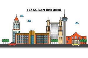 Texas, San Antonio.City skyline: architecture, buildings, streets, silhouette, landscape, panorama, landmarks, icons. Editable strokes. Flat design line vector illustration concept.