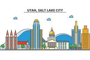 Utah, Salt Lake City.City skyline: architecture, buildings, streets, silhouette, landscape, panorama, landmarks, icons. Editable strokes. Flat design line vector illustration concept.