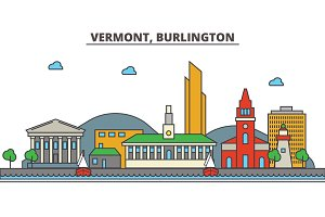 Vermont, Burlington.City skyline: architecture, buildings, streets, silhouette, landscape, panorama, landmarks, icons. Editable strokes. Flat design line vector illustration concept.
