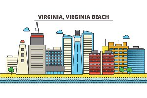 Virginia, Virginia Beach.City skyline: architecture, buildings, streets, silhouette, landscape, panorama, landmarks, icons. Editable strokes. Flat design line vector illustration concept.