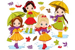 Vector Autumn Cute Little Girls