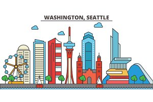 Washington, Seattle.City skyline: architecture, buildings, streets, silhouette, landscape, panorama, landmarks, icons. Editable strokes. Flat design line vector illustration concept.