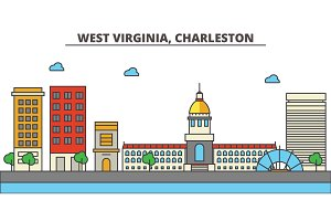 West Virginia, Charleston.City skyline: architecture, buildings, streets, silhouette, landscape, panorama, landmarks, icons. Editable strokes. Flat design line vector illustration concept.