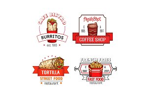 Fast food vector menu icons of fastfood restaurant