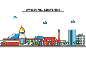 Wyoming, Cheyenne.City skyline: architecture, buildings, streets, silhouette, landscape, panorama, landmarks, icons. Editable strokes. Flat design line vector illustration concept.