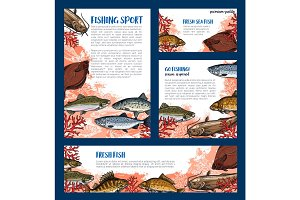 Vector templates set of fishes for fishing sport
