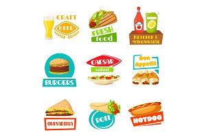 Fast food vector menu icons set for meals
