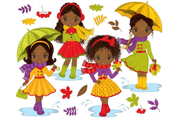 Vector African American Autumn Girls