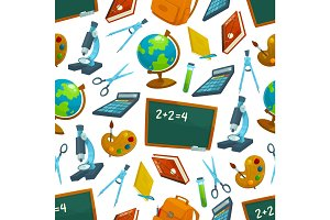 school vector seamless pattern of study supplies