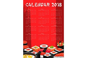 Vector 2018 calendar for Japanese sushi bar
