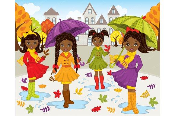 Vector African American Autumn Gilrs