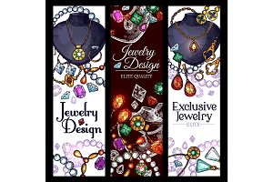 Vector banners of jewelry fashion accessories
