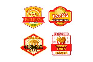 Fast food vector menu icons fastfood bistro cafe